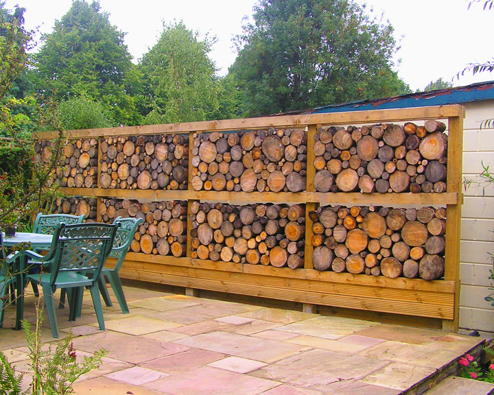 Unique garden furniture Unique Home This Unique Log Wall Created Beautiful Feature For Clients Patio It Makes Pleasant Backdrop To The Outdoor Area Bespoke Outdoor Garden Furniture Handmade In The Uk