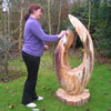 Barbara Hepworth style yew carving
